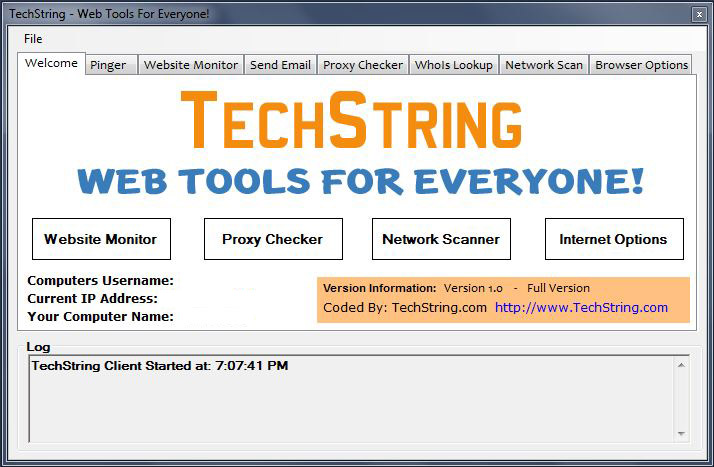 techstring main screen
